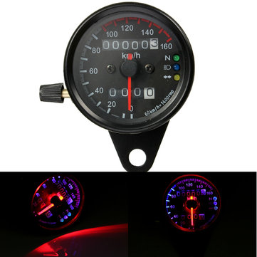 Universal Motorcycle Dual LED Backlight Signal Odometer Mileage Speedometer Gauge