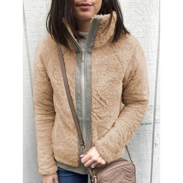 Casual Women Fleece Thick Stitching Stand Collar Long Sleeve Coats