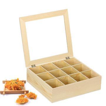 12 Slots Wooden Case Tea Storage Box Organizer Pinewood Container Display Holder