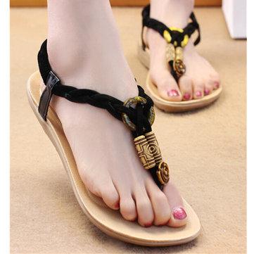 Summer Women Comfortable Beach Fashion Flat Shoes Heel T Strap Flip Flops Sandals Shoes