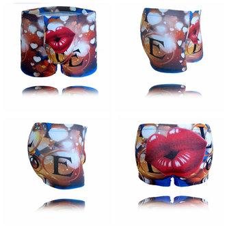 पुरुषों कपास मिश्रण लाल होंठ कार्टून मुद्रण अंडरवियर ब्रीफ बॉक्सर्स ट्रंक