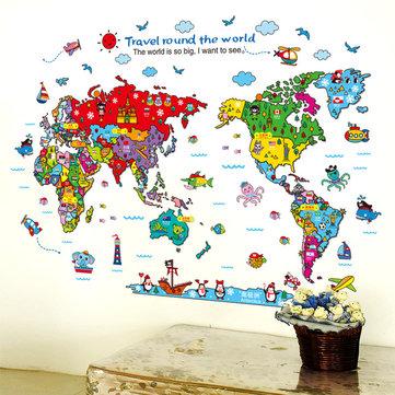 Cartoon Animals World Map Wall Stickers for Kids Room Decorations Safari Mural Art Zoo Children Home Decals