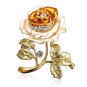 Flower Leaves Crystal Rhinestone Alloy Brooch Pin Accessories