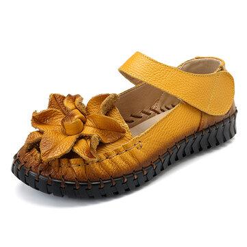SOCOFY Soft Bottom Flat Genuine Leather Women Sandals