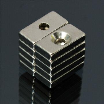 10 cái N52 20x10x4mm Nam châm mạnh 4mm Lỗ đất hiếm Neodymium Magnet