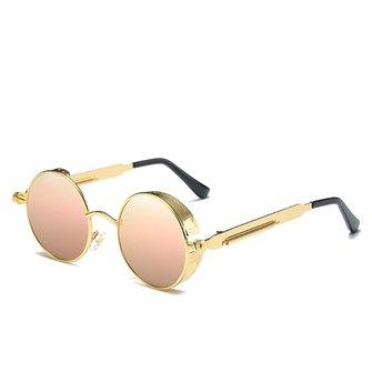 UV400 Vintage Steampunk Round Mirror Lens Sunglasses Outdoor Sport Hisper Eyewear For Man Women