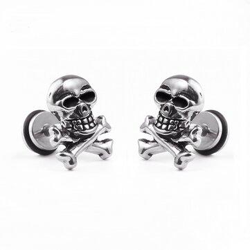 1pc Unisex Retro Stainless Steel Ear Stud Skull Earring Gift for Men Women