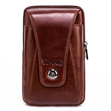 Men Genuine Leather Vintage Waist Bag Business Crossbody Bag Cell Phone Bag for 6 inch Phones
