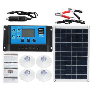 100W Solar Panel Kit 12V Battery Charger 10-100A LCD Controller For Caravan Van Boat