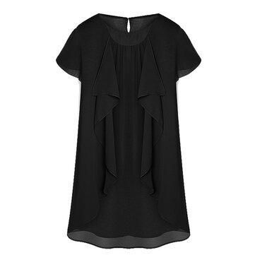 सुरुचिपूर्ण महिला ठोस लघु आस्तीन रफल अनियमित सीधे शिफॉन ड्रेस
