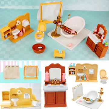 DIY Minyatürler Yatak Odası Banyo Sylvanian Aile Dollhouse Aksesuarları için Mobilya Setleri Oyuncak Hediyelik