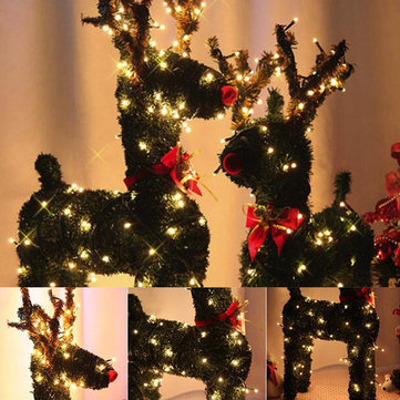 30/40/50/60CM Vintage Christmas Reindeer with 10M LED Holiday Light Artificial Grass Decor US Plug