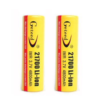 2PCS GETEED 3.7v 4800mAh 35A High Power 21700 20700 Rechargeable Li-ion Battery