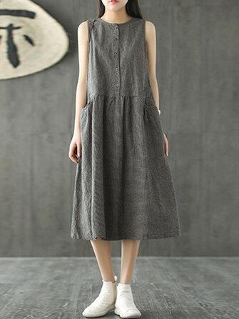 Vintage Kadın Kolsuz Plaid Casual Uzun Gömlek Pamuk Midi Elbise
