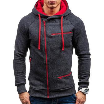 पुरुषों की आरामदायक जिपर सजावट फैशन जेब ड्रॉस्ट्रिंग लंबी आस्तीन हुडेड स्वेटरशर्ट