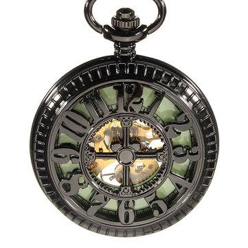 DEFFRUN Skeleton Vintage Mekanik Bercahaya Hitam Steampunk Pocket Watch