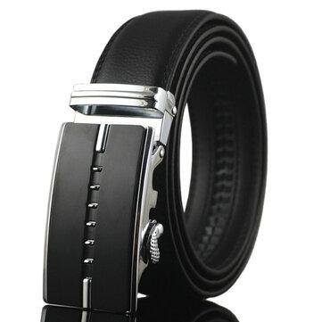 Men Business Genuine Leather Belt Casual Metal Automatic Buckle Strap Jeans Cowboy