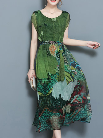 Elegant Women Floral Double Layered Short Sleeve Mid-long Dress with Belt