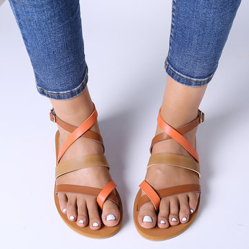 Lostisy Women Casual Cross Strap Clip Toe Sandals
