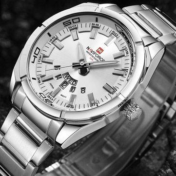 NAVIFORCE 9038防水カレンダーメンズ腕時計フルスチール時計クォーツ時計