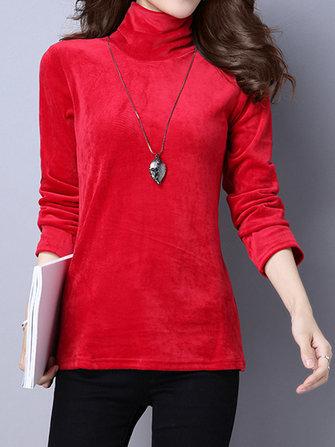 कछुए मखमली लंबी आस्तीन मोटी पतली आरामदायक महिला शर्ट