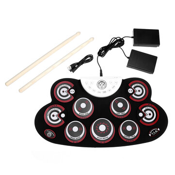 Buy Roll-Up Drum Set  9 Silicon Electronic Drum Pads USB/Battery Powered for Kids with Litecoins with Free Shipping on Gipsybee.com