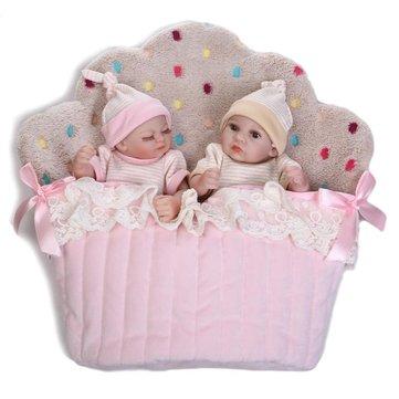 NPK 26cm Cute Pink Twin Baby Girl And Boy Full Soft Silicone Reborn Doll Simulation Reborn Toys