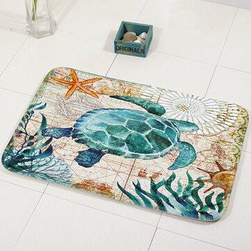 Miracille Marine Style Mata Podłogowa Dywan Do Salonu Wzór Żółw Morski Koral Polar Dywan Antypoślizgowy Wycieraczka Home Decor