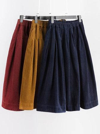 Mori Girl Pure Color cintura elástica bolsillo lateral falda de pana