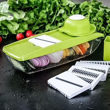 KCASA KC-MFP3 Vegetable Cutter Food Container Adjustable Mandoline Slicer 4 Interchangeable Blades