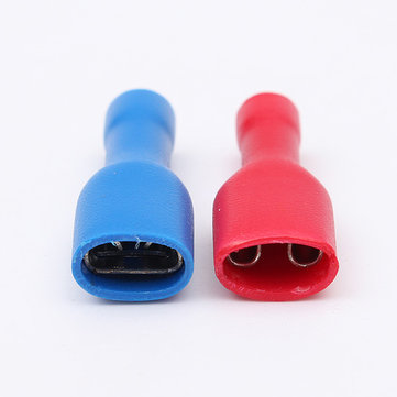 50Pcs 0.5-2.5mm² Red&Blue 6.3mm Female Insulated Spade Crimp Wire Connector Terminal