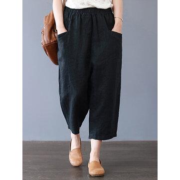 Women Cotton Loose Harem Pants with Pockets