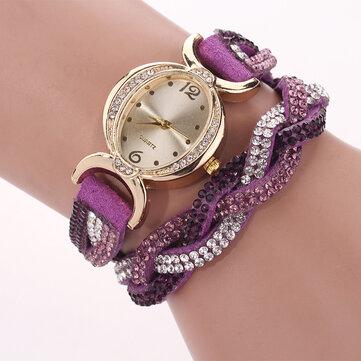 DUOYA D014 Strass elegante orologio da donna cinturino in pelle orologi bracciale