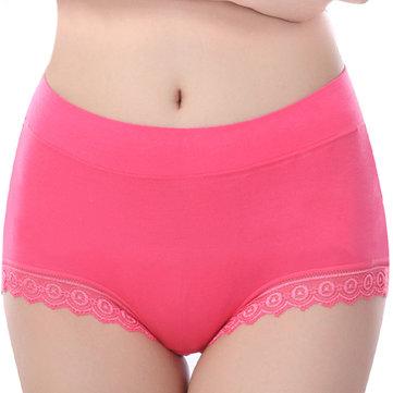 महिला आरामदायक निर्बाध Soft मोडल फीता-ट्रिम विरोधी रिसाव लोचदार उच्च कमर जाँघिया