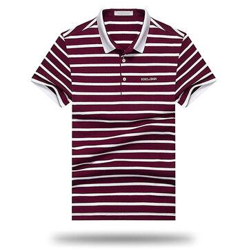Ocio de los hombres de algodón de manga corta Golf Camisa Moda Classic de rayas Turn-down Delgado Fit Tops