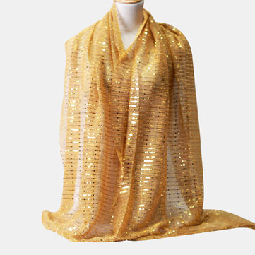 Buy Women Solid Color Chiffon Scarf Ethnic Style Sequin Hijab with Litecoins with Free Shipping on Gipsybee.com