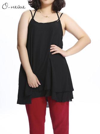 प्लस आकार महिला पट्टा शुद्ध रंग शिफॉन टैंक टॉप