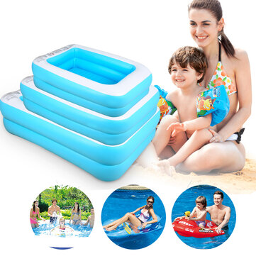 110/128/155cm Inflatable Swimming Pool Camping Garden Family Kids Paddling Pool
