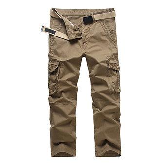 पुरुषों आरामदायक आरामदायक पॉकेट सीधे पैर ढीला कपास बाहर मालवाहक कार्गो पैंट