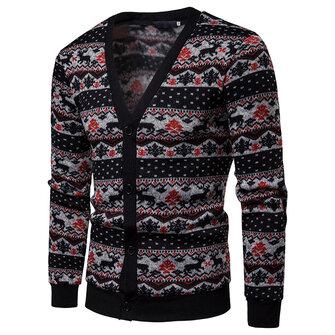 पुरुषों एकल ब्रेस्टेड वी-गर्दन क्रिसमस सिलाई रंग स्वेटर कार्डिगन