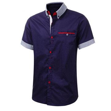 पुरुषों की स्टाइलिश औपचारिक लघु आस्तीन शर्ट स्लिम फ़िट आरामदायक सूट ड्रेस शर्ट टॉप