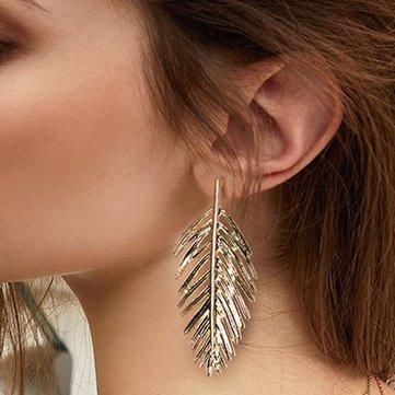 Trendy Ear Drop Leaves Silver Gold Earring Statement Pendientes Mujer Jewelry Long Dangle for Women