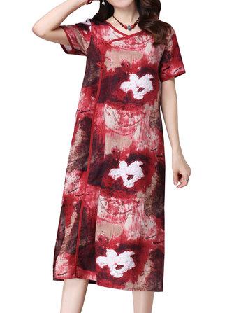 महिला विंटेज चीनी मेंढक फूल मुद्रित स्प्लिट मैक्सी पोशाक