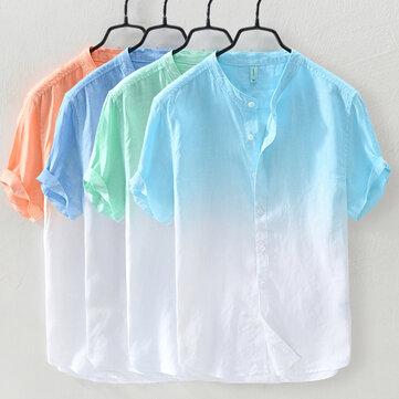 Gradient Färg Sommar Trendiga Bomull Lös Casual T-shirts