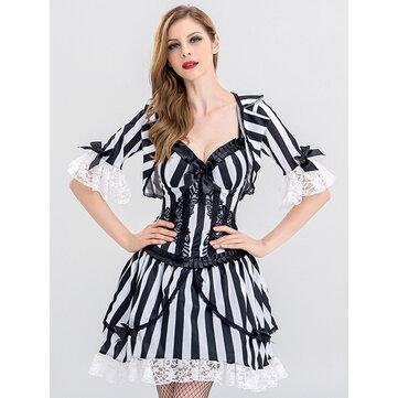 Halloween Sexy Vampire Cosplay Trang phục Phụ nữ Sọc Ren Chắp vá Mini Dress