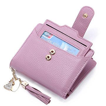 Tassel Genuine Leather Multi Slot Small Wallet Card Holder Purse For Women