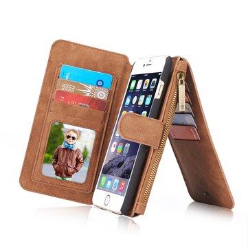 Caseme magnética desmontable cremallera Wallet Case para iPhone 6 6s 4.7 Inch