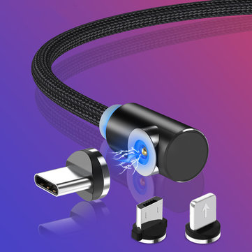TOPK 2.1A Magnetic Elbow Micro USB  Fast Charging Data Cable For Xiaomi HUAWEI Honor Android Phone