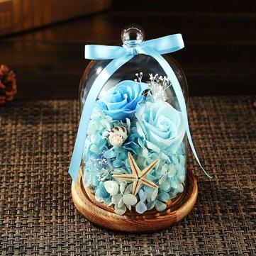 Eternal Flower Fresh Rose conservada con tapa de botella de vidrio Boda Home Party Coche Decoraciones Eternal Flower Gift para niña Rose Rose creativa Bombilla Great Holiday