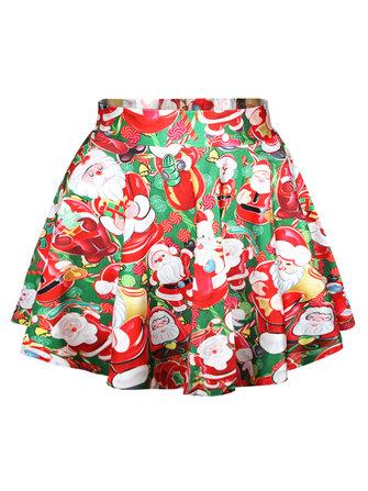 क्रिसमस प्रिंटिंग सांता क्लॉस उच्च waisted महिला पफ स्कर्ट